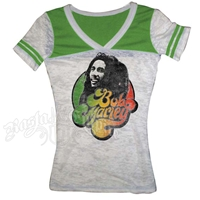 Bob Marley Football Style White/Green T-Shirt - Women's