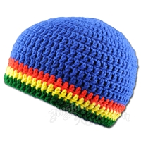 Rasta Crochet Beanie Hat - Royal Blue
