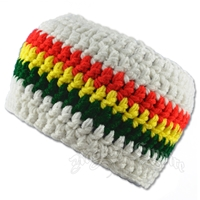 Rasta Crochet White Headband