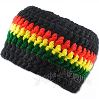 Rasta Crochet Black Headband