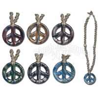 Hemp Glass Peace Sign Necklace with Cowry Beads