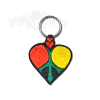 Rasta Heart and Peace Sign Felt Embroidered Keychain