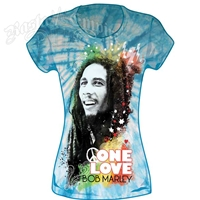 Bob Marley Peace One Love Blue Tie Dye T-Shirt - Women's