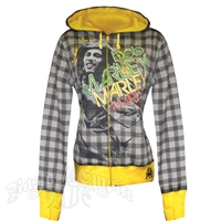 Bob Marley Lounge Yellow and Gray Plaid Zip Hoodie - Women's