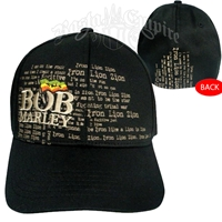 Bob Marley Iron Lion Zion Black Flexfit Cap