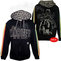 Bob Marley Get Up Stand UP Black Zip Hoodie - Men's