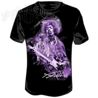 Jimi Hendrix Purple Haze Stars Black T-Shirt – Men's
