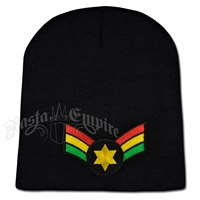 Rasta Star Wing Patch on Black Beanie Cap