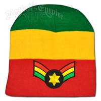 Rasta Star Wing Patch on Rasta Striped Beanie Cap