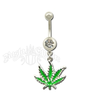 Marijuana Leaf Belly Ring with Clear Sparkle Jewel Body Jewelry