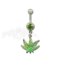 Marijuana Leaf Belly Ring with Green Sparkle Jewel Body Jewelry