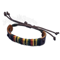 Rasta Hemp Yarn Leather Bracelet