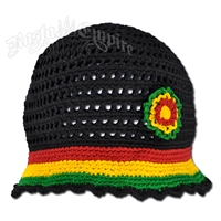 Rasta Flower Hat - Black