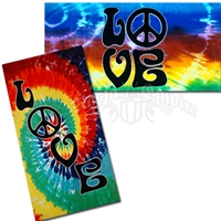 Love & Peace Sign Tie Dye Beach Towel