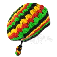 Rasta Wool Tam With Ties