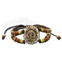 Rasta Lion Bone Beaded Double Strand Bracelet