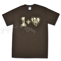 One Plus Heart Leaf Brown T-Shirt - Men's