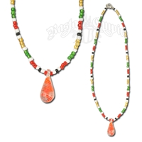 Rasta with White and Red Glass Drop Pendant Necklace