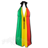 Rasta and Reggae Short Halter Dress with Tie