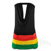 Rasta and Reggae Mini Tube Top Dress with Ruching