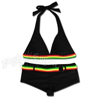 Rasta Halter & Boy Short Bikini Swimsuit