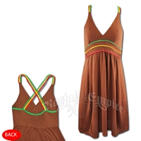 Rasta V Neck Cover Up Short Dress - Brown