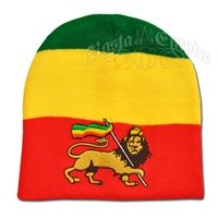 Lion of Judah on Rasta Striped Beanie Cap