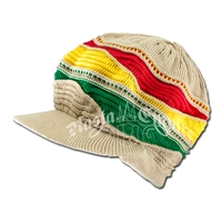 Rasta Waves and Khaki Cotton Visor Cap
