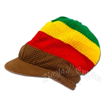 Rasta Cotton Visor Cap - Brown Brim