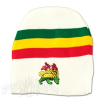 Lion of Judah with Rasta Stripes on White Beanie Cap