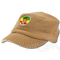 Knit Military Cap with Haile Selassie - Khaki