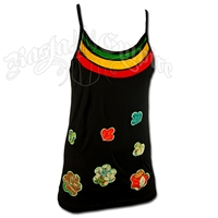 Rasta and Flower Designs Black Tank Top - Women's
