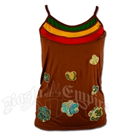 Rasta and Flower Designs Brown Tank Top - Women's
