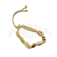 Rasta Beads, Hemp and Cowry Shells Bracelet