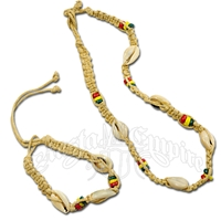 Rasta Hemp Cowry Necklace and Bracelet - Jewelry Set