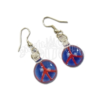 Glass Peace Sign Pendant Earrings