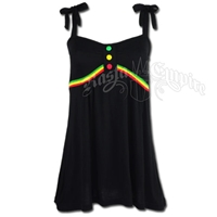 Rasta Sleeveless Top with Bow Tie Straps - Black