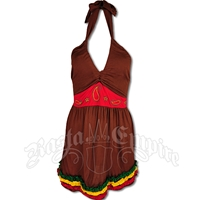 Rasta Halter Top with Sash and Ruffles - Brown