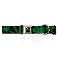 Marijuana Leaves Dog Collar with Bone Buckle