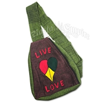 Rasta Live, Love and Peace Heart Cotton Sling Backpack