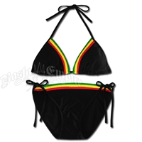 Rasta Triangle & String Bottom Swimsuit