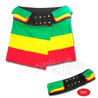 Rasta Tri Color Mini Skirt with Belt