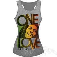 Bob Marley One Love Smile Athletic Heather  Ribbed Tank - Women's