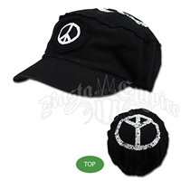 Peace Sign Black Cadet Cap