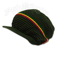 Rasta Ribbed Cotton Cap - Olive/Rasta