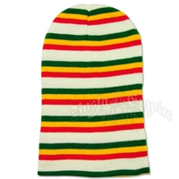 Super Long Beanie - White/Rasta