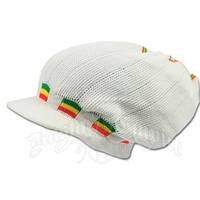 Rasta Deep Crown Visor Beanie Cap - White