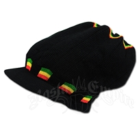 Rasta Deep Crown Visor Beanie Cap - Black