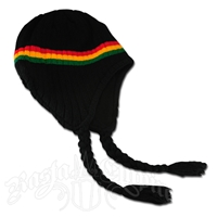 Rasta Ear Flap Hat - Black
