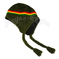 Rasta Ear Flap Hat - Olive